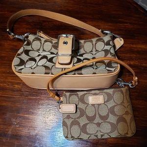 Coach signature wristlet & small bag